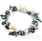 Wholesale white and black pearl bracelet with metal chain and toggle clasp