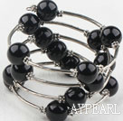 Black Color Shell Beads Wrap Bangle Bracelet
