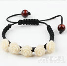 Fashion Style New Design White Turquoise Flower Weaved Drawstring Bracelet with Adjustable Thread