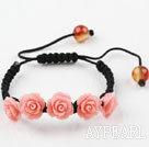 Fashion Style New Design Pink Rose Flower Turquoise Woven Drawstring Bracelet with Adjustable Thread