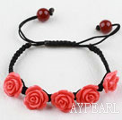 Fashion Style Watermelon Red Rose Flower Turquoise Woven Drawstring Bracelet with Adjustable Thread