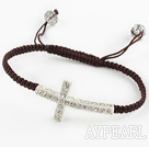 Fashion Style Sideway/Side Way White Rhinestone Cross Bracelet with Brown Cord Drawstring Bracelet