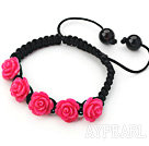 Fashion Style Red Rose Flower Turquoise Woven Drawstring Bracelet with Adjustable Thread
