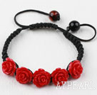 Fashion Style Dark Red Rose Flower Turquoise Weaved Drawstring Bracelet with Adjustable Thread