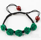 Wholesale Fashion Style Dark Green Rose Flower Turquoise Woven Drawstring Bracelet with Adjustable Thread