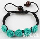 Fashion Style Blue Rose Flower Turquoise Weaved Drawstring Bracelet with Adjustable Thread