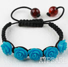 Dark Blue Rose Flower Turquoise Woven Bracelet with Adjustable Thread