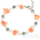 Wholesale simple pinlk coral bracelet with lobster clasp