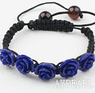 Fashion Style Dark Purple Rose Flower Turquoise Woven Drawstring Bracelet with Adjustable Thread