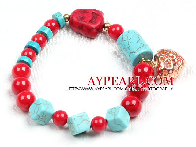 Simple Style Single Strand Blue Turquoise Red Blood Stone Beads Stretch / Elastic Bracelet With Golden Rose Color Hollow Heart