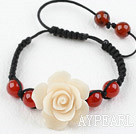 Fashion Style Carnelian and White Turquoise Flower Woven Drawstring Bracelet with Adjustable Thread