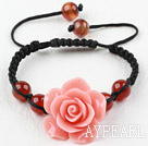Fashion Style Carnelian and Pink Turquoise Flower Woven Drawstring Bracelet with Adjustable Thread