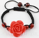 Wholesale Fashion Style Carnelian and Orange Red Turquoise Flower Woven Drawstring Bracelet with Adjustable Thread