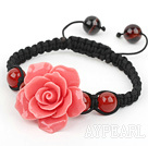 Fashion Style Carnelian and Watermelon Red Turquoise Flower Weaved Drawstring Bracelet with Adjustable Thread