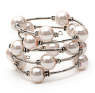 Pink Color Shell Beads Wrap Bangle Bracelet