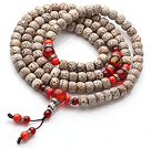 Vintage Style Multi Strands Leaves the Bodhi Red Coral Agate Beads Elastic Rosary/Prayer Bracelet