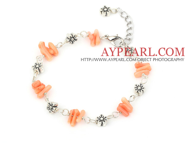 simple pinlk coral bracelet with lobster clasp