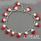white pearl and red coral bracelet with lobster clasp