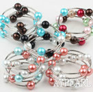 Assorted Multi Color Shell Beads Wrap Bangle Bracelet ( Total 5 Pieces )