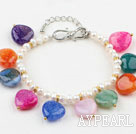 Wholesale White Freshwater Pearl and Heart Shape Multi Color Agate Bracelet