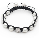 Wholesale 10mm Round White Seashell Beads and Rhinestone Ball Bracelet with Adjustable Thread