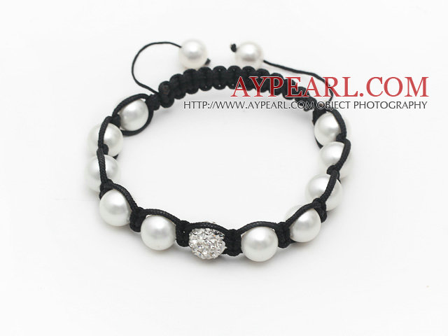 10mm Round White Seashell Beads and Rhinestone Ball Bracelet with Adjustable Thread