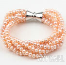 Wholesale Multi Strands Natural Pink Freshwater Pearl Bracelet with Big Magnetic Clasp