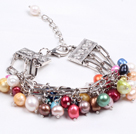 Fashion Multi Strand Natural Multi Color Ferskvann Pearl Charm Bracelet