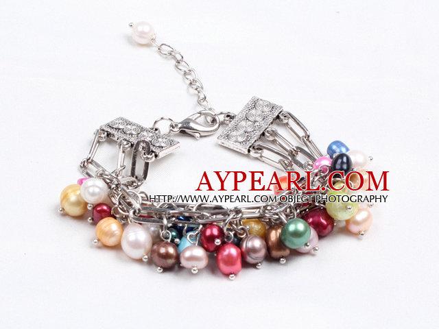 Fashion Multi Strand Natural Multi Color Freshwater Pearl Charm Bracelet