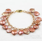 Wholesale Golden Brown Coin Pearl Bracelet with Yellow Color Metal Chain