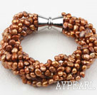 Multi Strands Golden Brown Freshwater Pearl Bracelet with Big Magnetic Clasp