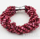Multi Strands Purple Red Freshwater Pearl Bracelet with Big Magnetic Clasp