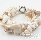 Teeth Shape Freshwater Pearl and White Bubble Shell Bracelet