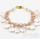 Wholesale White Coin Freshwater Pearl Bracelet with Yellow Metal Chain