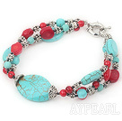 Wholesale 7 inches blue turquoise and red coral bracelet with moonlight clasp