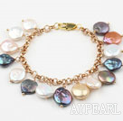 Assorted Multi Color Coin Freshwater Pearl Bracelet with Yellow Metal Chain