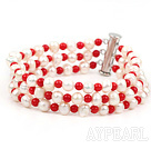 Wholesale Three Strands Round White Freshwater Pearl and Red Coral Bracelet