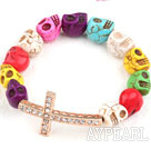 Wholesale Golden Color Rhinestone Sideway/Side Way Cross and Multi Color Turquoise Skull Stretch Halloween Bracelet
