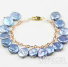 Blue Coin Freshwater Pearl Bracelet with Yellow Metal Chain