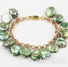 Lemon Green Coin Freshwater Pearl Bracelet with Yellow Metal Chain