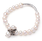Wholesale 8-9mm White Freshwater Pearl Elastic Bangle Bracelet with Metal Flower Accessories