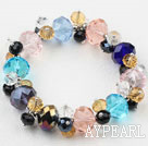 Assortert Multi Color Crystal Elastic Bangle Bracelet