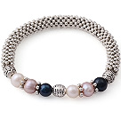 fashion and simple three colored pearl bangle