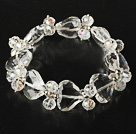 Fasettert Clear Crystal og hjerte form Clear Crystal Elastic Bangle Bracelet
