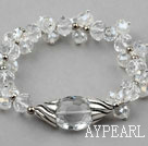 Assorted Faceted Clear Crystal Elastic Bangle Bracelet