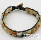 Wholesale Two Rows Three Color Serpentine Jade Woven Bracelet with Shell Clasp