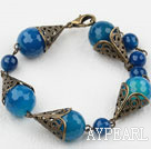Wholesale Vintage Style Faceted Blue Agate Bracelet