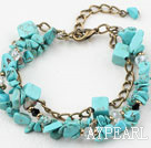 Wholesale Turquoise Chips Bracelet with Bronze Chain