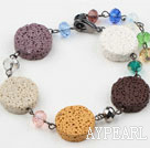 Wholesale Multi Color Volcanic Stone and Multi Color Crystal Bracelet