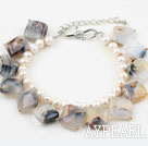 White Freshwater Pearl and Persian Agate Bracelet with Adjustable Chain